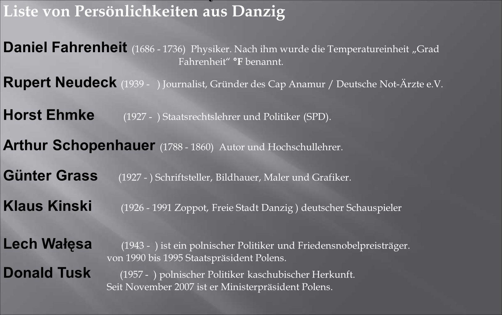 """Daniel Fahrenheit (1686 - 1736) Physiker. Nach ihm wurde die Temperatureinheit """"Grad Fahrenheit"""" °F benannt. Arthur Schopenhauer (1788 - 1860) Autor u"""