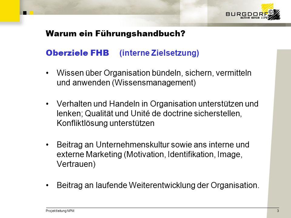 Projektleitung NPM3 Warum ein Führungshandbuch? Oberziele FHB (interne Zielsetzung) Wissen über Organisation bündeln, sichern, vermitteln und anwenden