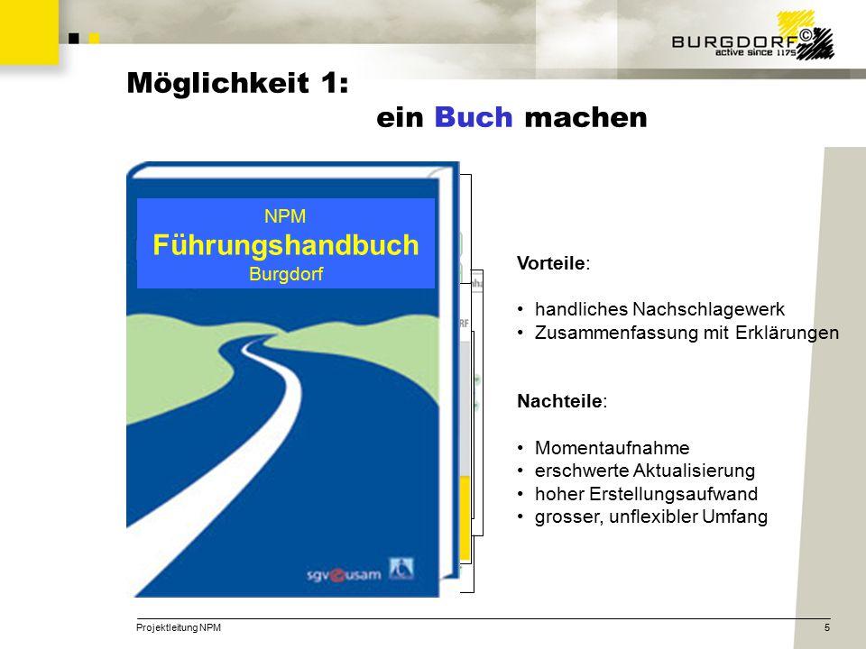 Projektleitung NPM5 Möglichkeit 1: ein Buch machen NPM Führungshandbuch Burgdorf Vorteile: handliches Nachschlagewerk Zusammenfassung mit Erklärungen Nachteile: Momentaufnahme erschwerte Aktualisierung hoher Erstellungsaufwand grosser, unflexibler Umfang