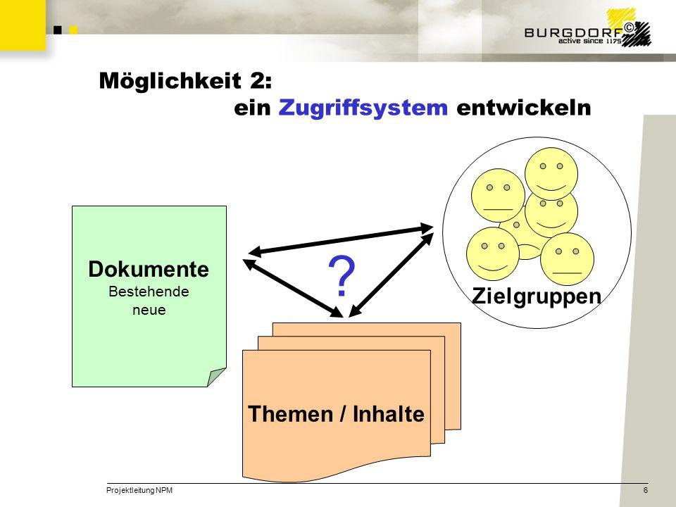 Projektleitung NPM6 Möglichkeit 2: ein Zugriffsystem entwickeln Dokumente Bestehende neue Zielgruppen Themen / Inhalte ?