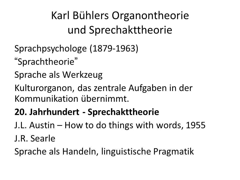 """Karl Bühlers Organontheorie und Sprechakttheorie Sprachpsychologe (1879-1963) """"Sprachtheorie"""" Sprache als Werkzeug Kulturorganon, das zentrale Aufgabe"""