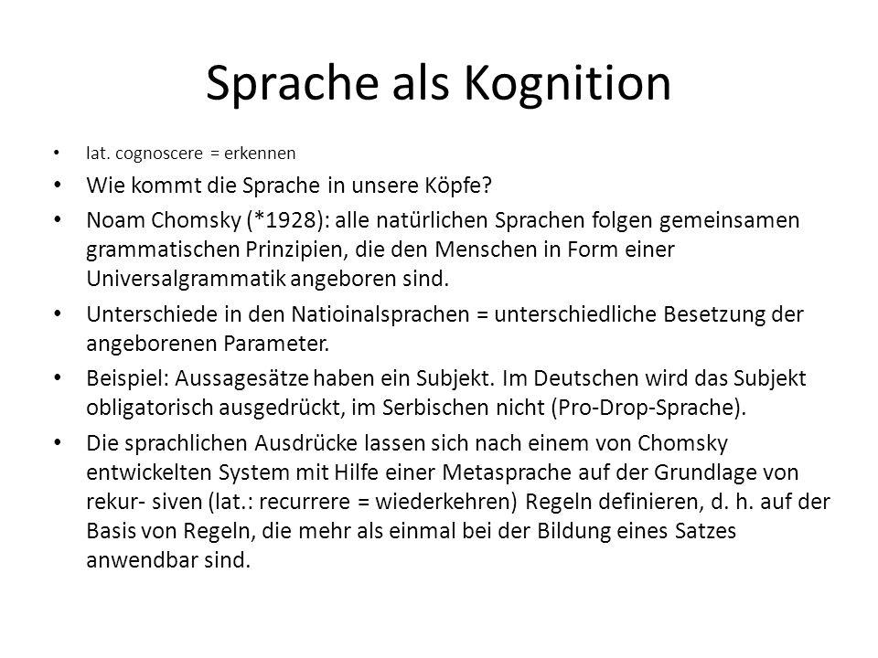 Sprache als Kognition lat. cognoscere = erkennen Wie kommt die Sprache in unsere Köpfe? Noam Chomsky (*1928): alle natürlichen Sprachen folgen gemein