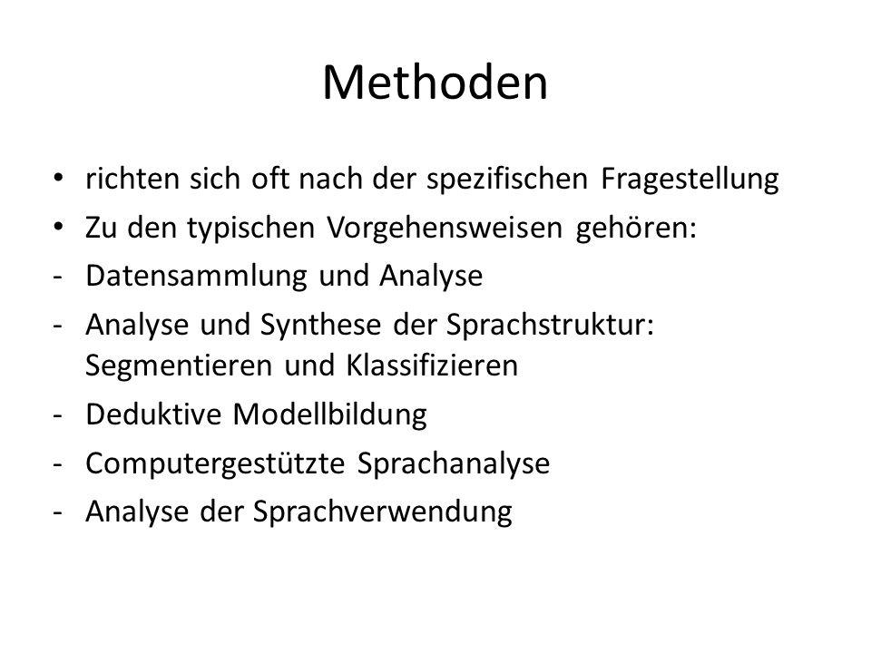 Methoden richten sich oft nach der spezifischen Fragestellung Zu den typischen Vorgehensweisen gehören: -Datensammlung und Analyse -Analyse und Synthe