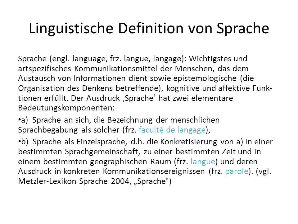 Linguistische Definition von Sprache Sprache (engl. language, frz. langue, langage): Wichtigstes und artspezifisches Kommunikationsmittel der Menschen