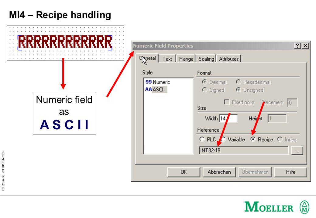 Schutzvermerk nach DIN 34 beachten MI4 – Recipe handling