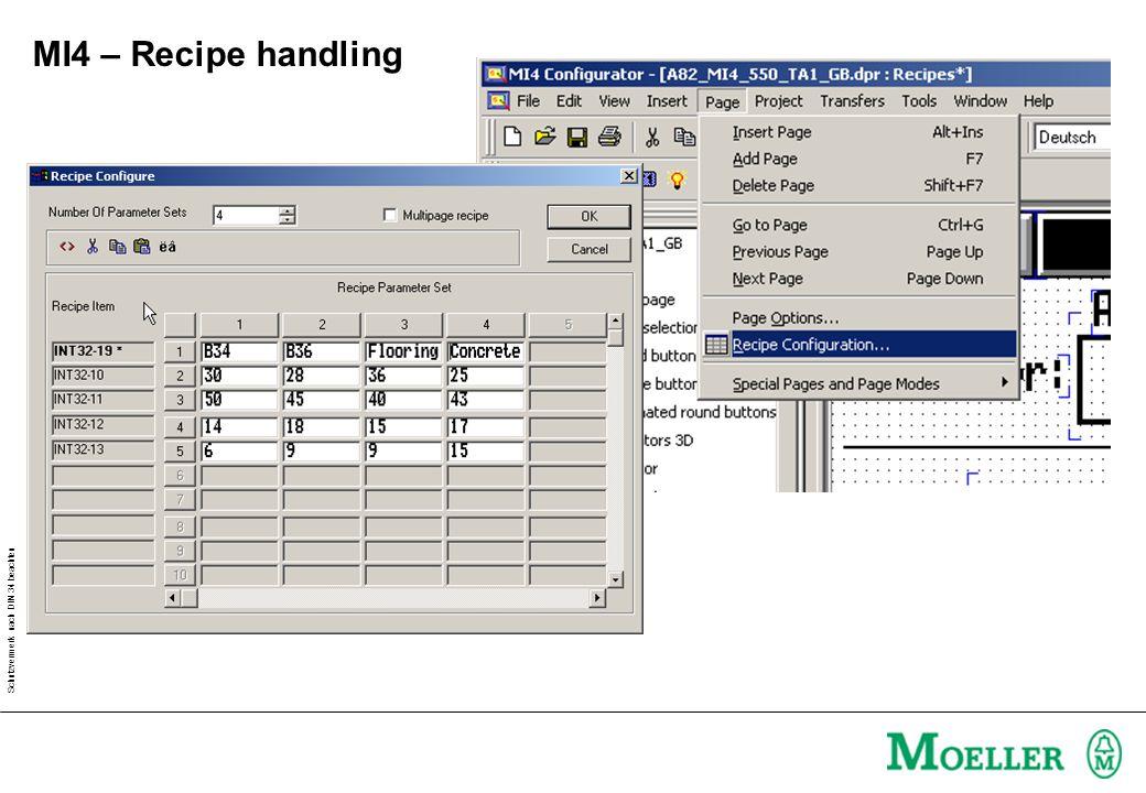 Schutzvermerk nach DIN 34 beachten MI4 – Recipe handling Create control variable
