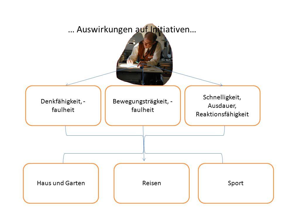 Haus und GartenSport Bewegungsträgkeit, - faulheit Schnelligkeit, Ausdauer, Reaktionsfähigkeit Reisen Denkfähigkeit, - faulheit