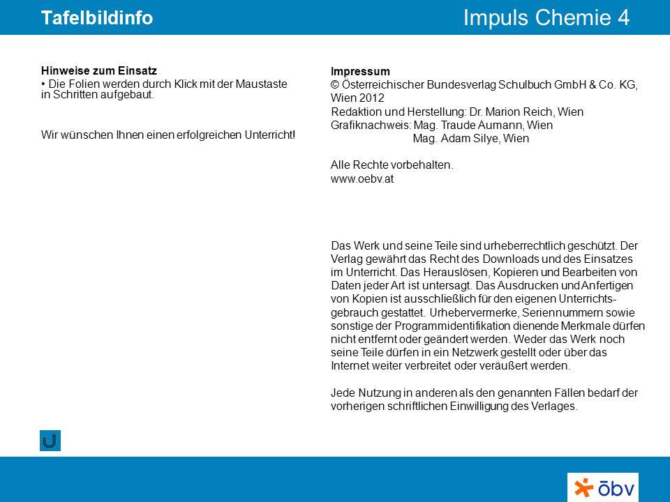 © Österreichischer Bundesverlag Schulbuch GmbH & Co KG   www.oebv.at Impuls Chemie 4 Tafelbildinfo Impressum © Österreichischer Bundesverlag Schulbuch