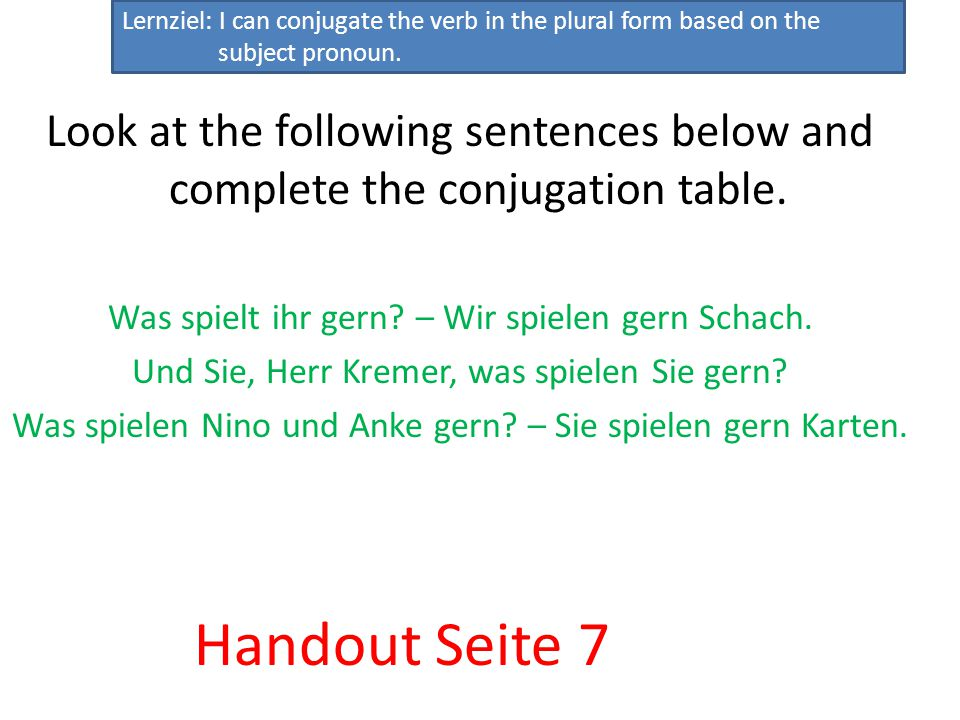 spielen spielt spielen Lernziel: I can conjugate the verb in the plural form based on the subject pronoun.
