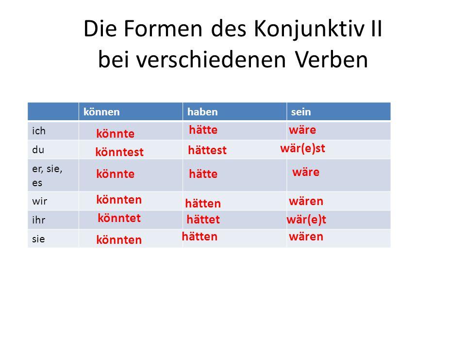 Die Formen des Konjunktiv II bei verschiedenen Verben könnenhabensein ich du er, sie, es wir ihr sie könnte könntest könnte könnten könntet könnten hä