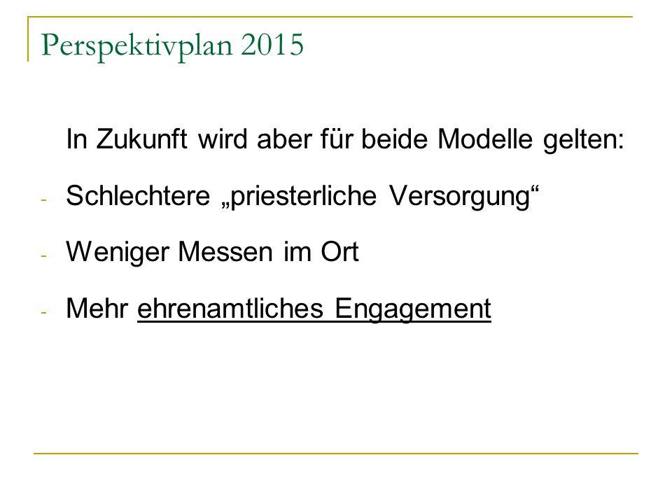 """Perspektivplan 2015 In Zukunft wird aber für beide Modelle gelten: - Schlechtere """"priesterliche Versorgung - Weniger Messen im Ort - Mehr ehrenamtliches Engagement"""