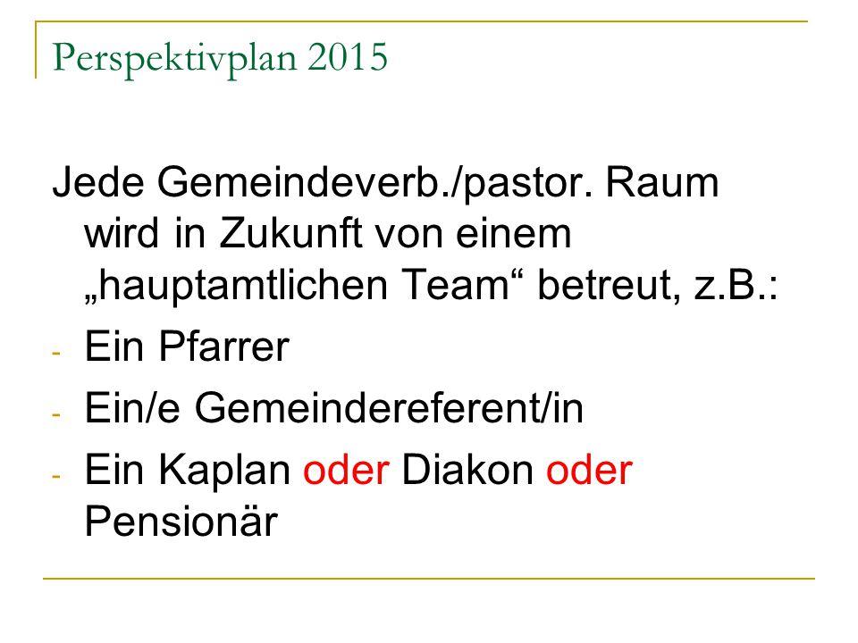 Perspektivplan 2015 Jede Gemeindeverb./pastor.