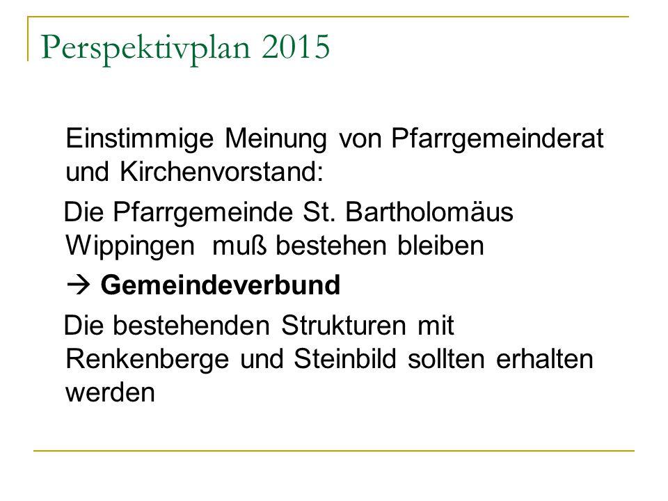 Perspektivplan 2015 Einstimmige Meinung von Pfarrgemeinderat und Kirchenvorstand: Die Pfarrgemeinde St.