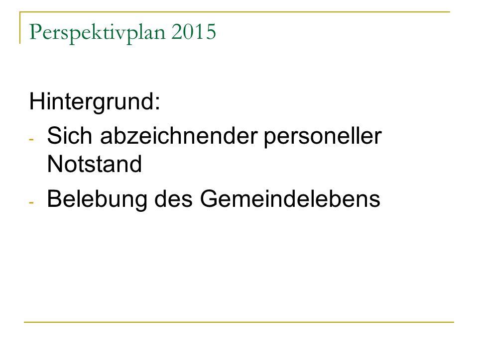 Perspektivplan 2015 Hintergrund: - Sich abzeichnender personeller Notstand - Belebung des Gemeindelebens
