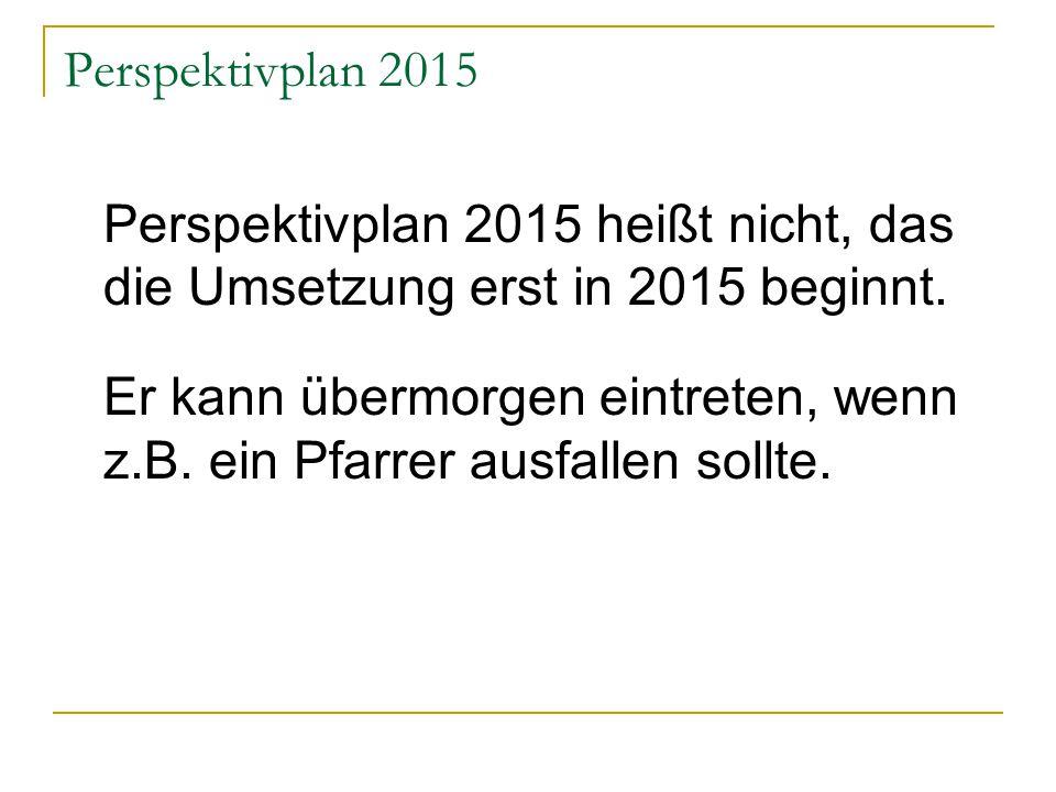 Perspektivplan 2015 Perspektivplan 2015 heißt nicht, das die Umsetzung erst in 2015 beginnt.