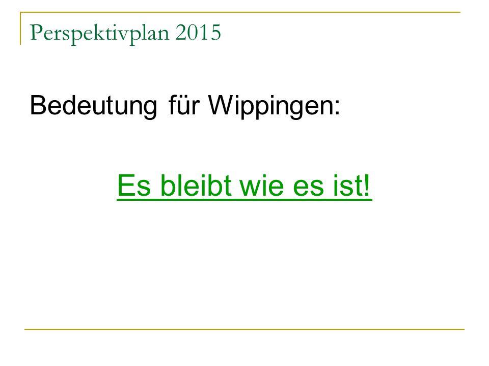 Perspektivplan 2015 Bedeutung für Wippingen: Es bleibt wie es ist!