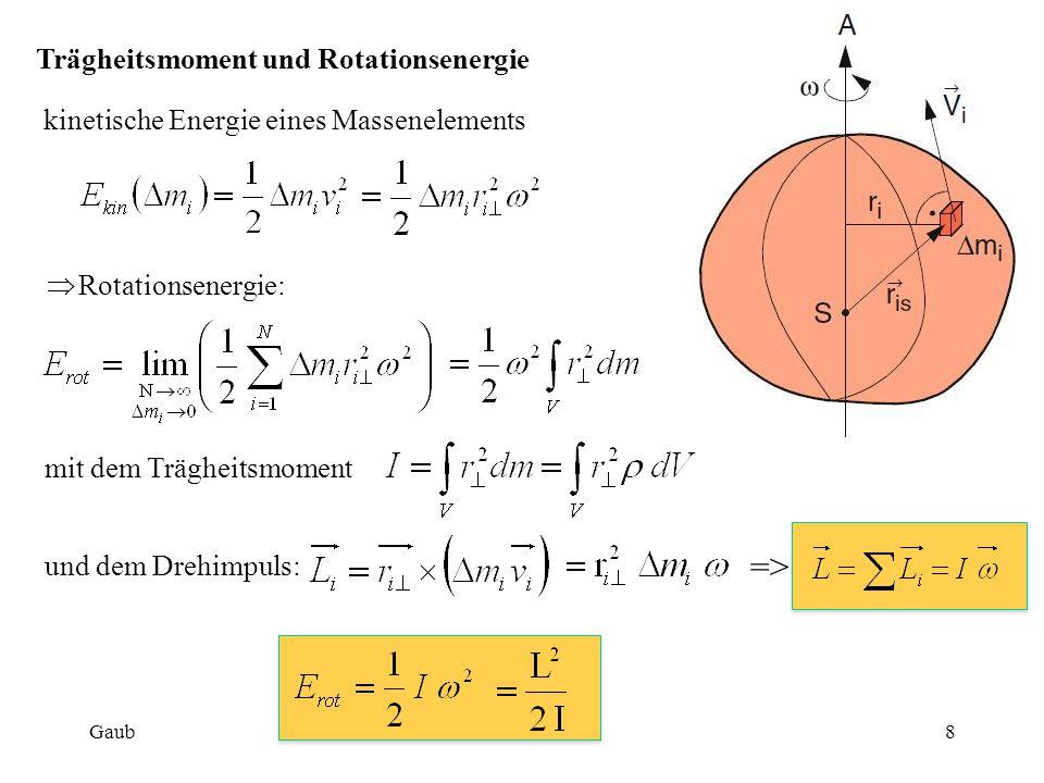 Trägheitsmoment und Rotationsenergie kinetische Energie eines Massenelements  Rotationsenergie: mit dem Trägheitsmoment und dem Drehimpuls: => Gaub8