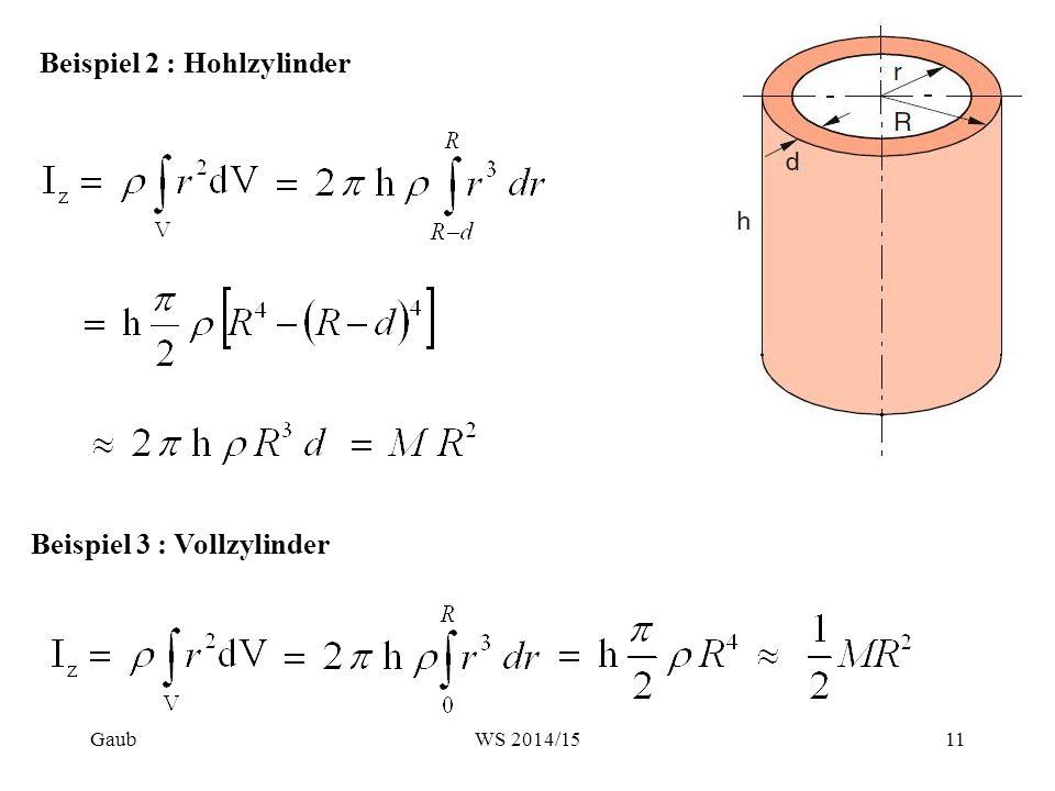 Beispiel 2 : Hohlzylinder Beispiel 3 : Vollzylinder Gaub11WS 2014/15