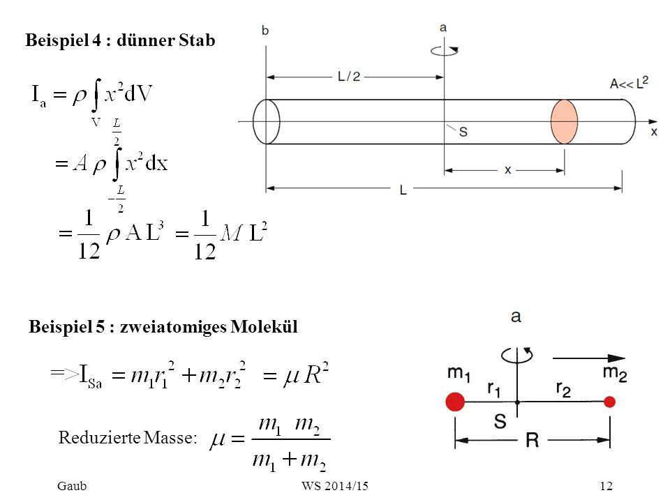 Beispiel 4 : dünner Stab Beispiel 5 : zweiatomiges Molekül Reduzierte Masse: Gaub12WS 2014/15