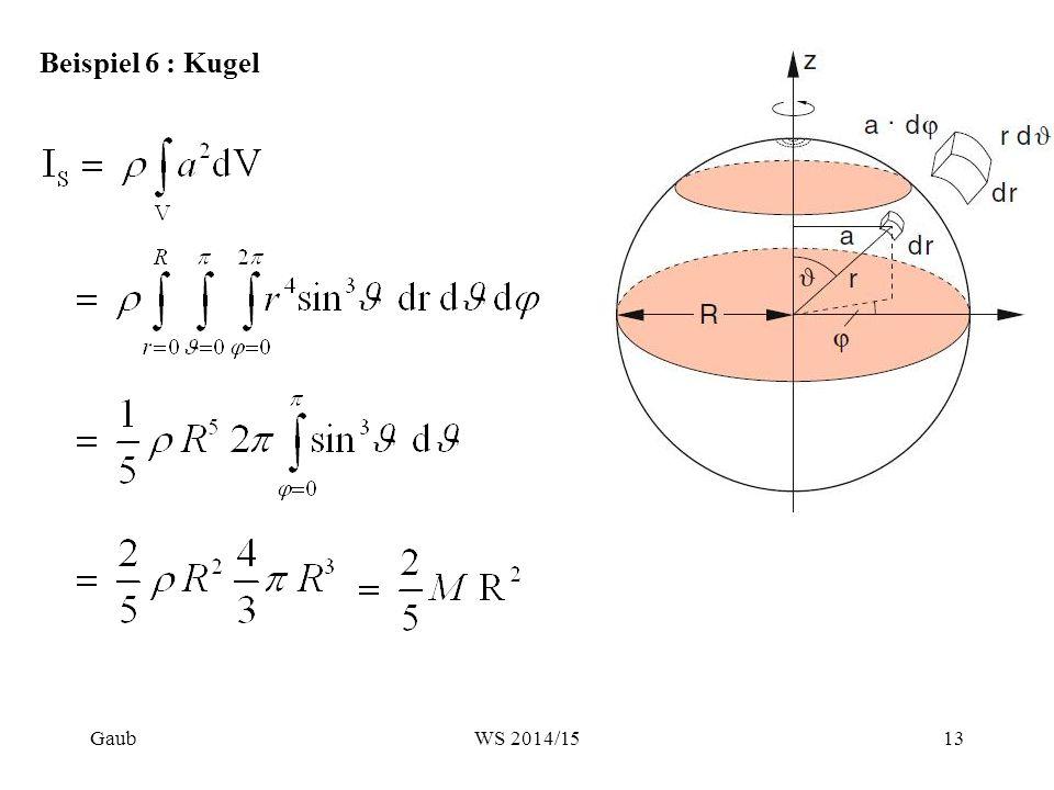 Beispiel 6 : Kugel Gaub13WS 2014/15