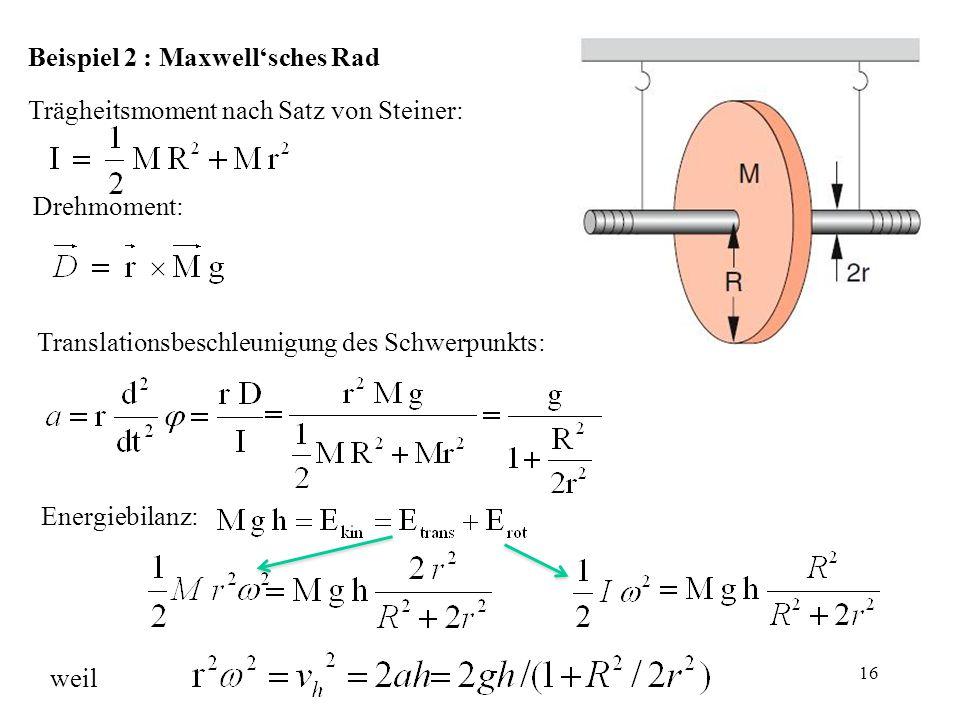 Beispiel 2 : Maxwell'sches Rad Trägheitsmoment nach Satz von Steiner: Drehmoment: Translationsbeschleunigung des Schwerpunkts: Energiebilanz: weil 16