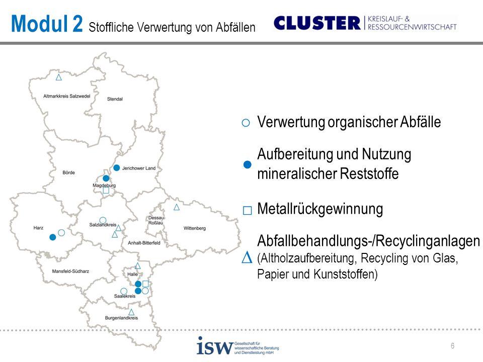 6 Modul 2 Stoffliche Verwertung von Abfällen ○ Verwertung organischer Abfälle ● Aufbereitung und Nutzung mineralischer Reststoffe □ Metallrückgewinnun