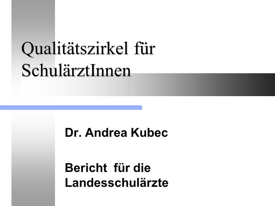 Qualitätszirkel für SchulärztInnen Dr. Andrea Kubec Bericht für die Landesschulärzte