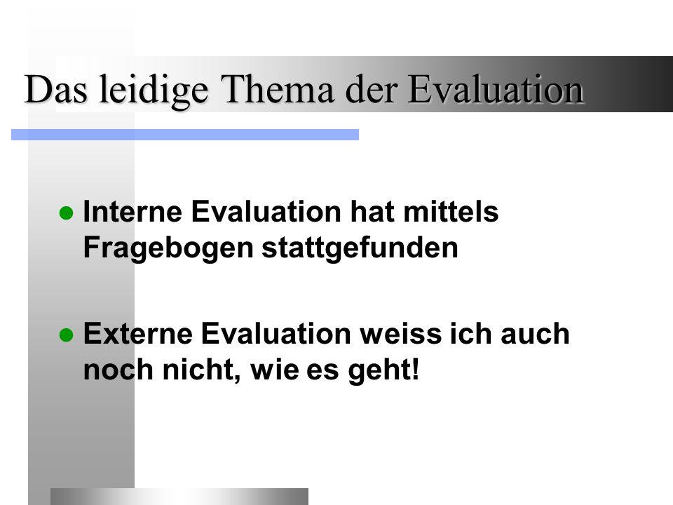 Das leidige Thema der Evaluation Interne Evaluation hat mittels Fragebogen stattgefunden Externe Evaluation weiss ich auch noch nicht, wie es geht!