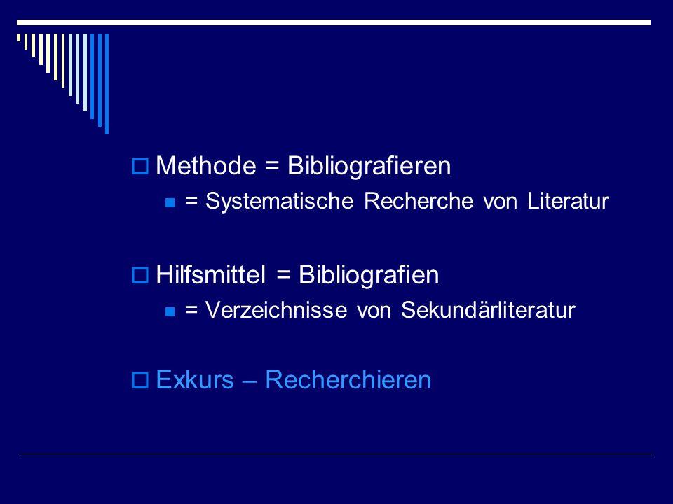  Methode = Bibliografieren = Systematische Recherche von Literatur  Hilfsmittel = Bibliografien = Verzeichnisse von Sekundärliteratur  Exkurs – Recherchieren