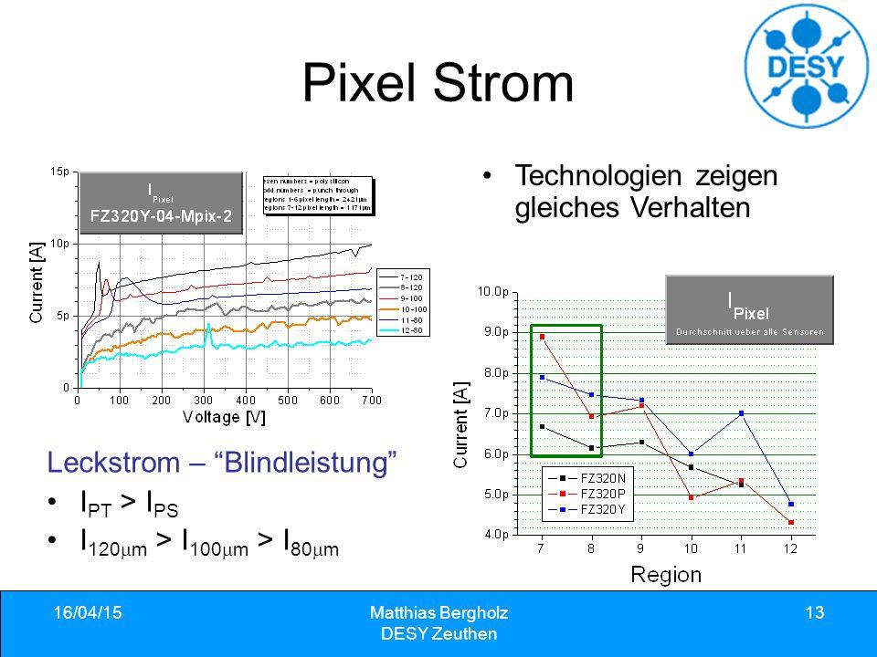 "Pixel Strom 16/04/15Matthias Bergholz DESY Zeuthen 13 Leckstrom – ""Blindleistung"" I PT > I PS I 120  m > I 100  m > I 80  m Technologien zeigen gle"