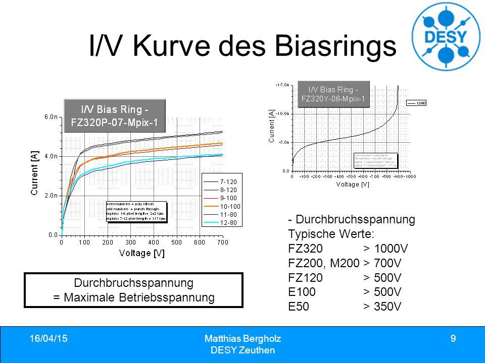 I/V Kurve des Biasrings - Durchbruchsspannung Typische Werte: FZ320 > 1000V FZ200, M200 > 700V FZ120 > 500V E100 > 500V E50 > 350V 16/04/15Matthias Bergholz DESY Zeuthen 9 Durchbruchsspannung = Maximale Betriebsspannung