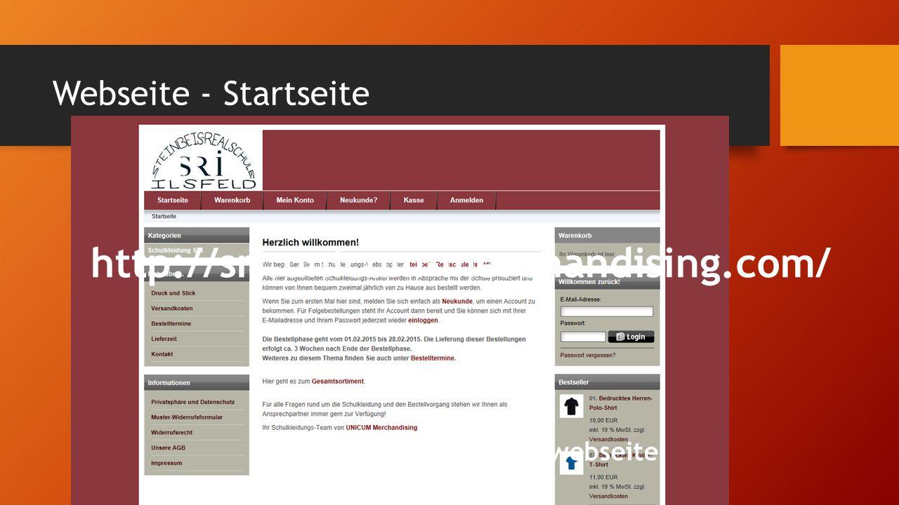 Webseite - Startseite http://sri.unicum-merchandising.com/ Link auf unserer Schulwebseite