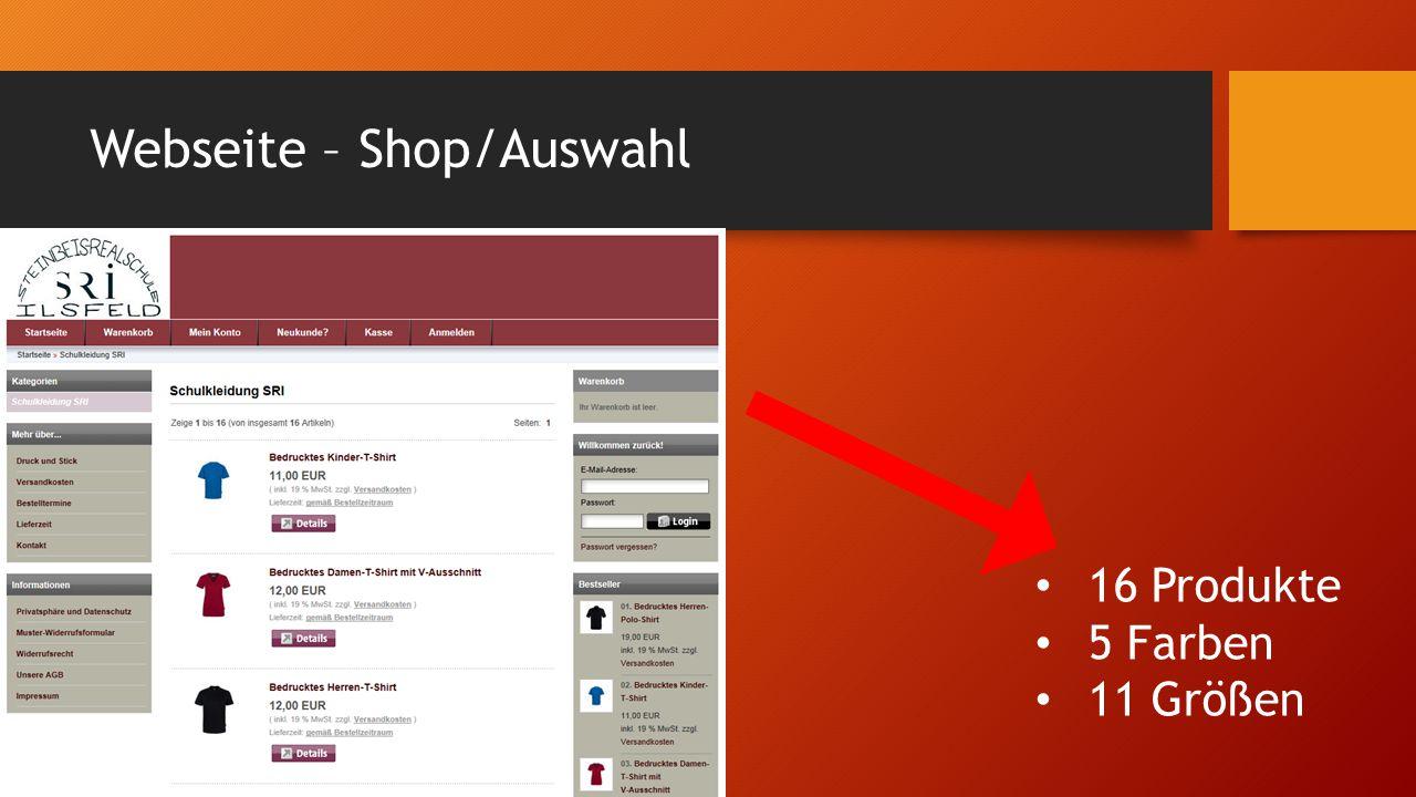 Webseite – Shop/Auswahl 16 Produkte 5 Farben 11 Größen