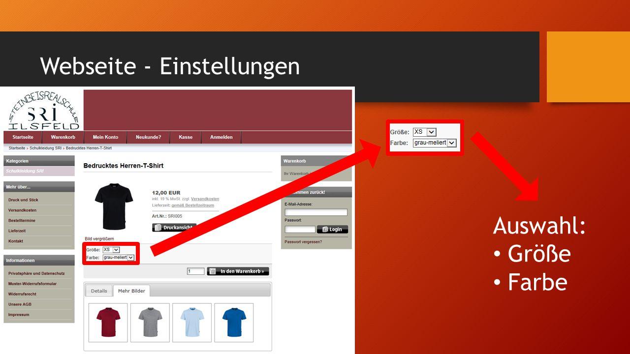 Webseite - Einstellungen Auswahl: Größe Farbe