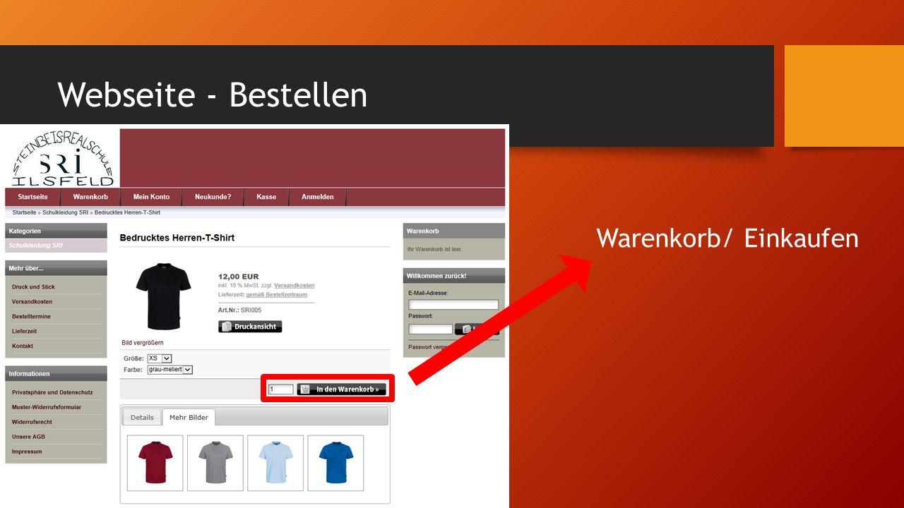 Webseite - Bestellen Warenkorb/ Einkaufen