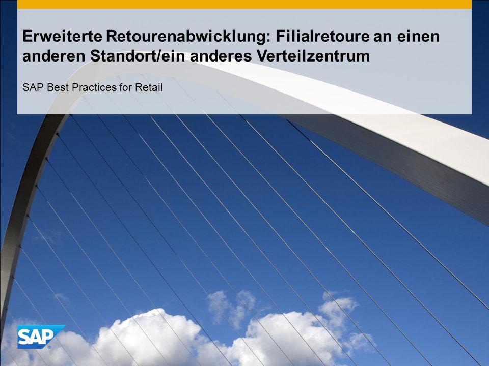 Erweiterte Retourenabwicklung: Filialretoure an einen anderen Standort/ein anderes Verteilzentrum SAP Best Practices for Retail