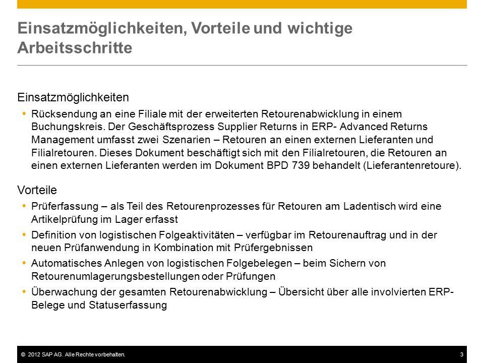 ©2012 SAP AG. Alle Rechte vorbehalten.3 Einsatzmöglichkeiten, Vorteile und wichtige Arbeitsschritte Einsatzmöglichkeiten  Rücksendung an eine Filiale