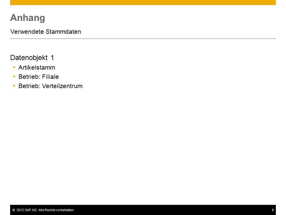 ©2012 SAP AG. Alle Rechte vorbehalten.6 Anhang Verwendete Stammdaten Datenobjekt 1  Artikelstamm  Betrieb: Filiale  Betrieb: Verteilzentrum