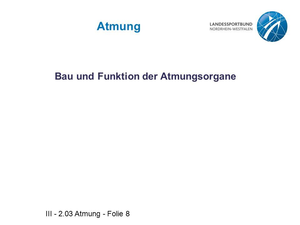 III - 2.03 Atmung - Folie 19 Diffusion Passiver Transport von Stoffen durch Membranen aufgrund eines Konzentrationsgefälles