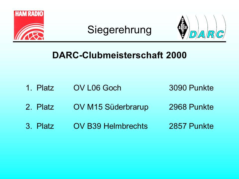 DARC-Clubmeisterschaft 2000 1. Platz OV L06 Goch3090 Punkte 2. PlatzOV M15 Süderbrarup2968 Punkte 3. PlatzOV B39 Helmbrechts2857 Punkte Siegerehrung