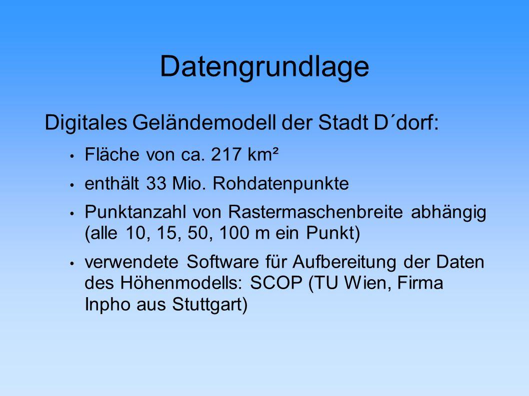 Datengrundlage Digitales Geländemodell der Stadt D´dorf: Fläche von ca.