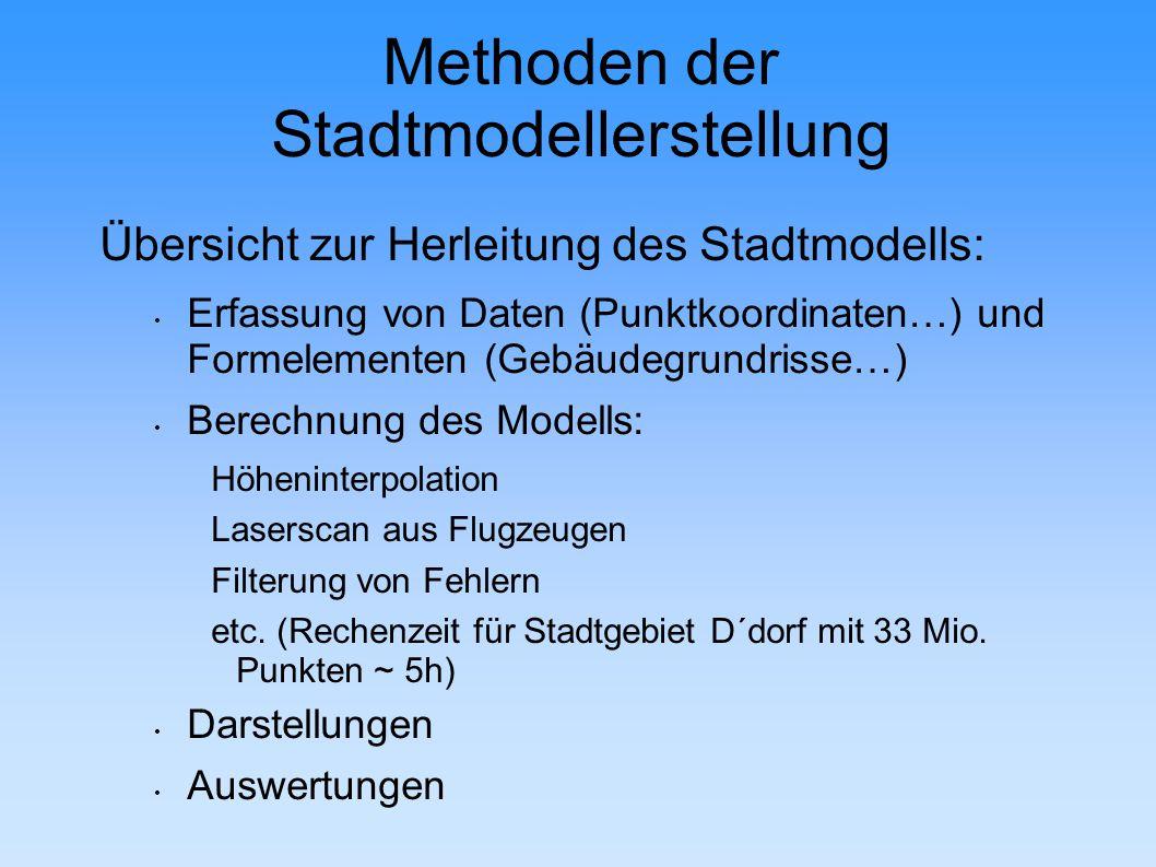 Methoden der Stadtmodellerstellung Übersicht zur Herleitung des Stadtmodells: Erfassung von Daten (Punktkoordinaten…) und Formelementen (Gebäudegrundrisse…) Berechnung des Modells: Höheninterpolation Laserscan aus Flugzeugen Filterung von Fehlern etc.