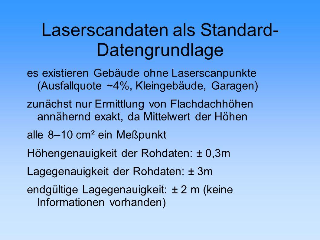 Laserscandaten als Standard- Datengrundlage es existieren Gebäude ohne Laserscanpunkte (Ausfallquote ~4%, Kleingebäude, Garagen) zunächst nur Ermittlung von Flachdachhöhen annähernd exakt, da Mittelwert der Höhen alle 8–10 cm² ein Meßpunkt Höhengenauigkeit der Rohdaten: ± 0,3m Lagegenauigkeit der Rohdaten: ± 3m endgültige Lagegenauigkeit: ± 2 m (keine Informationen vorhanden)