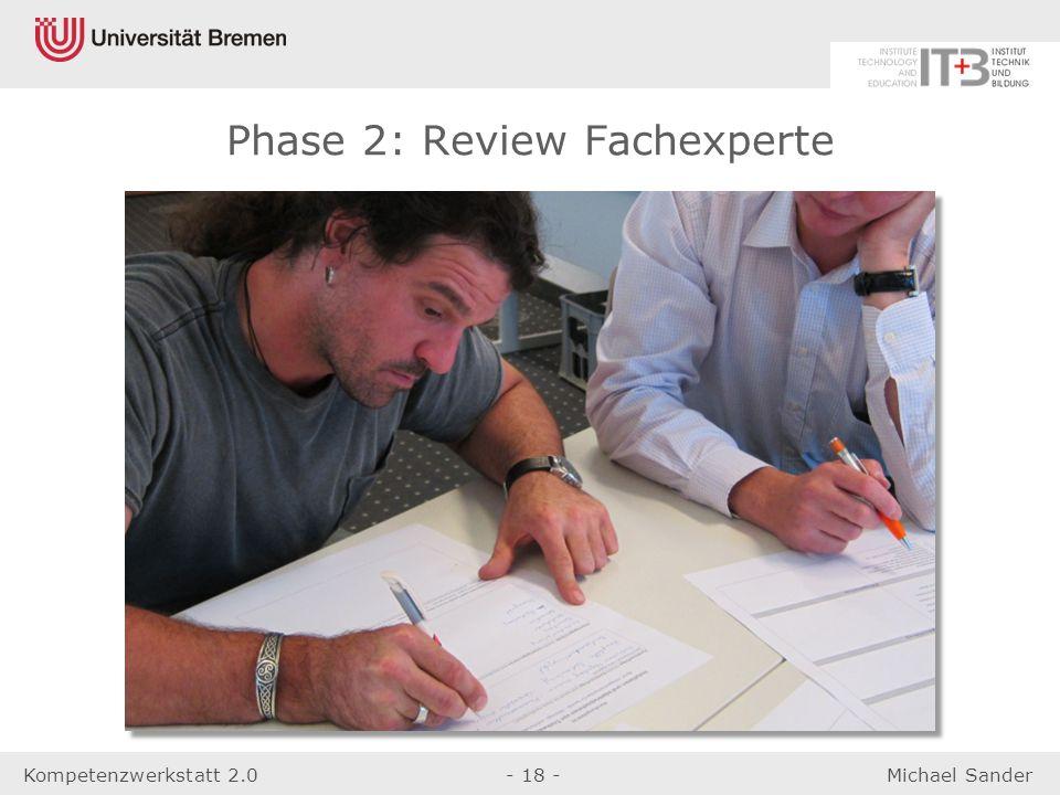 Kompetenzwerkstatt 2.0- 18 -Michael Sander Phase 2: Review Fachexperte