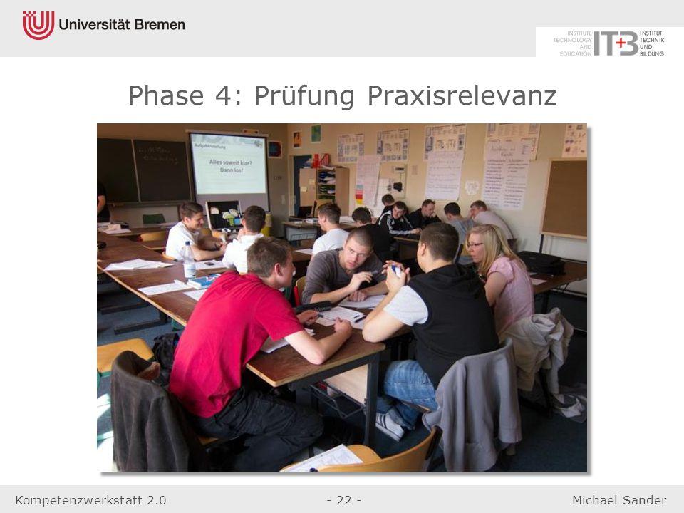 Kompetenzwerkstatt 2.0- 22 -Michael Sander Phase 4: Prüfung Praxisrelevanz