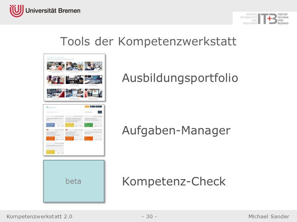 Kompetenzwerkstatt 2.0- 30 -Michael Sander Tools der Kompetenzwerkstatt Ausbildungsportfolio Aufgaben-Manager Kompetenz-Check beta