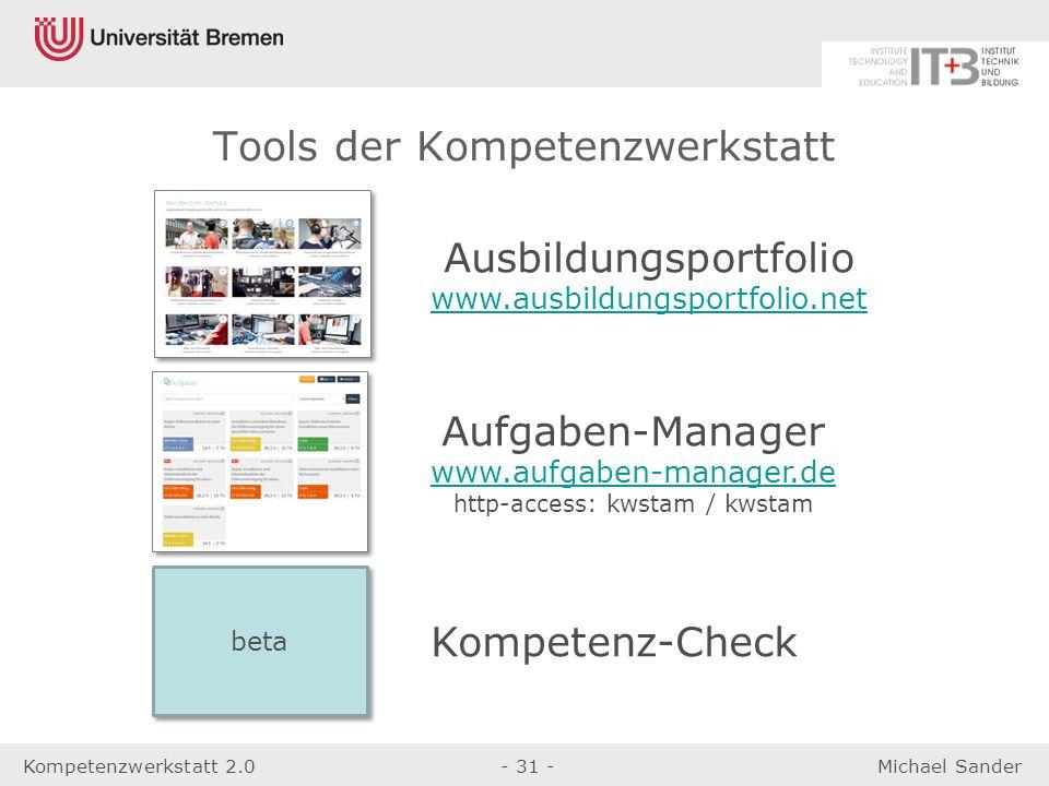 Kompetenzwerkstatt 2.0- 31 -Michael Sander Tools der Kompetenzwerkstatt Ausbildungsportfolio www.ausbildungsportfolio.net Aufgaben-Manager www.aufgabe