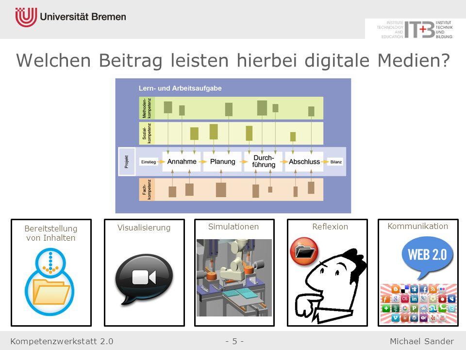 Kompetenzwerkstatt 2.0- 5 -Michael Sander Simulationen Reflexion Bereitstellung von Inhalten Visualisierung Kommunikation Welchen Beitrag leisten hier
