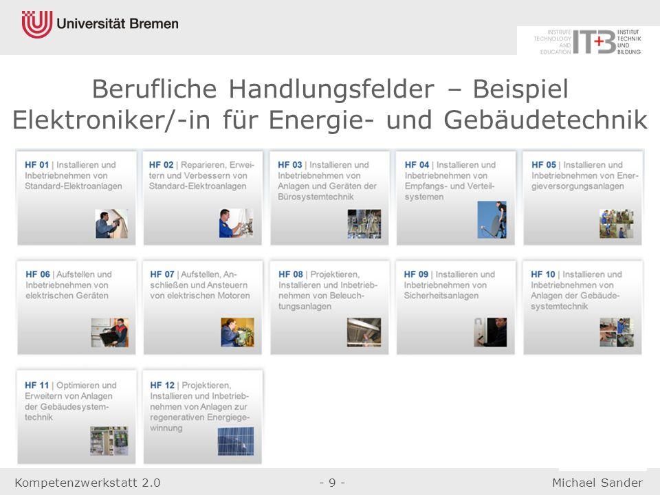 Kompetenzwerkstatt 2.0- 9 -Michael Sander Berufliche Handlungsfelder – Beispiel Elektroniker/-in für Energie- und Gebäudetechnik