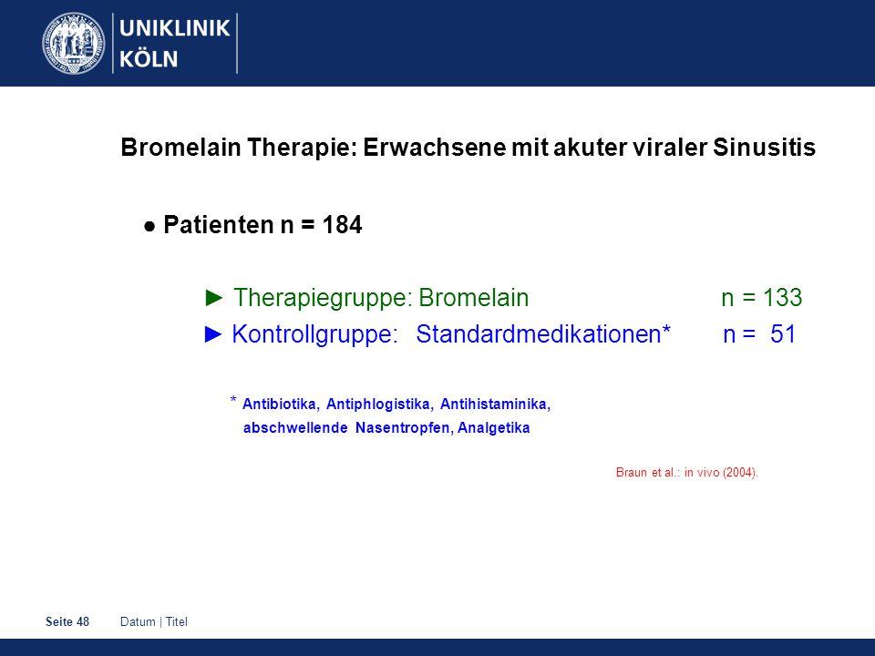 Datum | TitelSeite 48 Bromelain Therapie: Erwachsene mit akuter viraler Sinusitis ● Patienten n = 184 ► Therapiegruppe: Bromelain n = 133 ► Kontrollgr